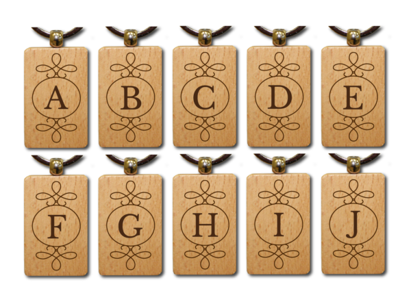 Bamboe sleutelhangers alfabet